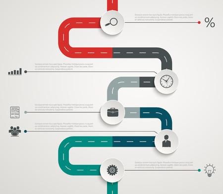 Illustration pour Road infographic timeline with icons. Vertical structure - image libre de droit