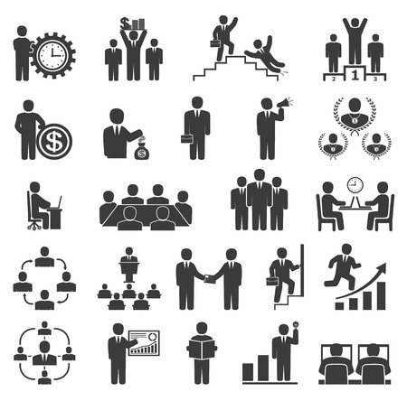 Illustration for Business people in work. Office icons, conference, computer work,  team working, motivation to success - Royalty Free Image
