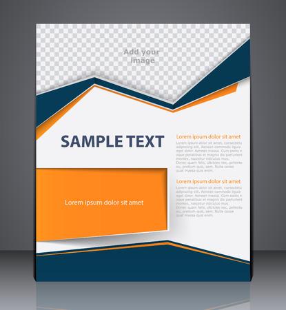 Illustration pour Vector business brochure flyer design layout template, cover design in blue and orange colors - image libre de droit