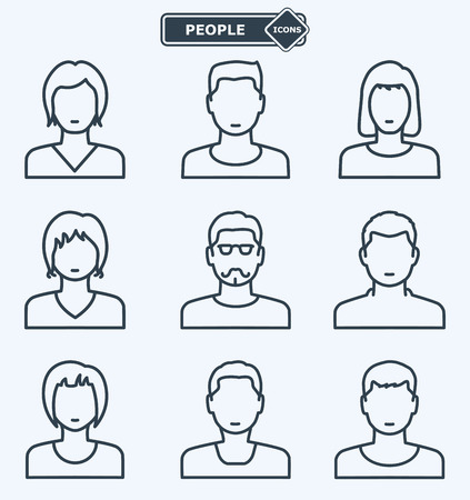 Illustration pour People icons, linear flat style - image libre de droit