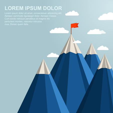 Foto de Landscape with red flag on top of Mountain. Leadership concept - Imagen libre de derechos