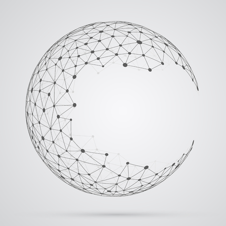Illustration for Global mesh sphere. Abstract geometric shape with spherical severed off triangular faces. - Royalty Free Image