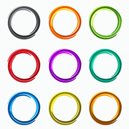 Illustrazione per Color abstract circles. Loops  logo elements of template - Immagini Royalty Free