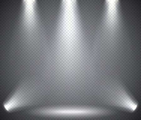 Illustration pour Scene illumination from above and below, transparent effects on a plaid dark  background. Bright lighting with spotlights. - image libre de droit