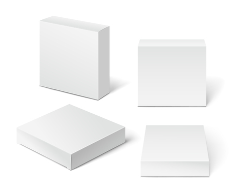 Ilustración de White Cardboard Package Box. Illustration Isolated On White Background. - Imagen libre de derechos