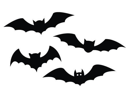 Illustration pour Black bats set on a white background - image libre de droit