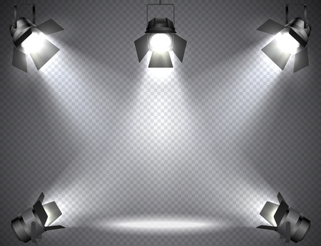 Illustration pour Spotlights with bright lights on transparent background. - image libre de droit