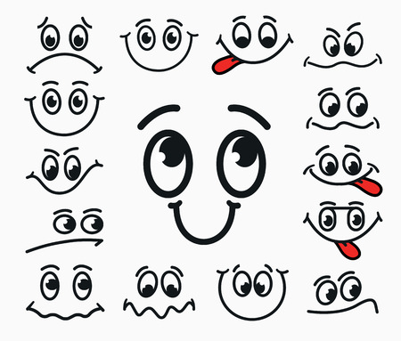 Illustrazione per Cartoon facial expression of joy, of sadness, discontent. Emotions mouth and eyes with tongue. - Immagini Royalty Free
