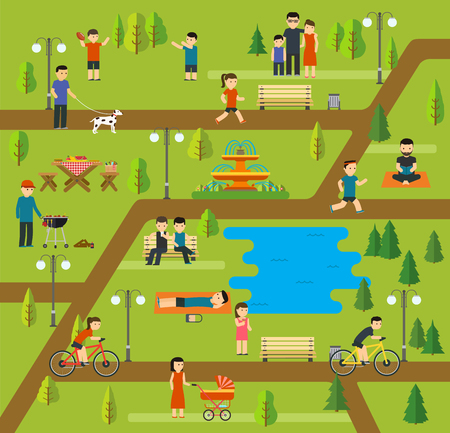 Illustration pour Rest in a public park, Camping in the park, picnic, biking, walking the dog in park, yoga sessions, running in park, holidays by the lake, family holiday in nature. - image libre de droit