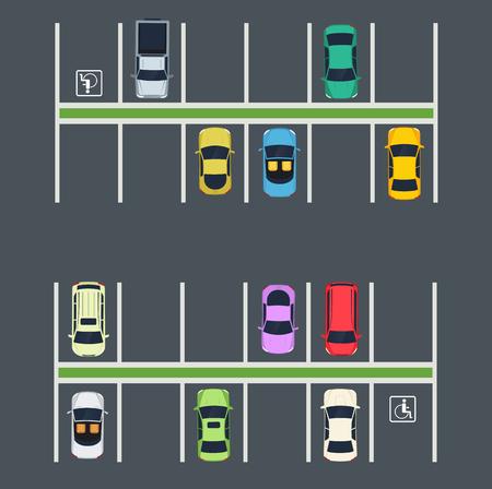Illustration pour Parking place with cars. Top view of city parking zone. - image libre de droit