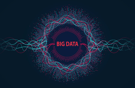 Ilustración de Big data. Visual information flow from points and lines. - Imagen libre de derechos