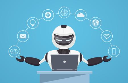 Ilustración de Chat bot, robot virtual assistance. Robot sits behind a laptop with help icons around it. Artificial intelligence concept online. - Imagen libre de derechos