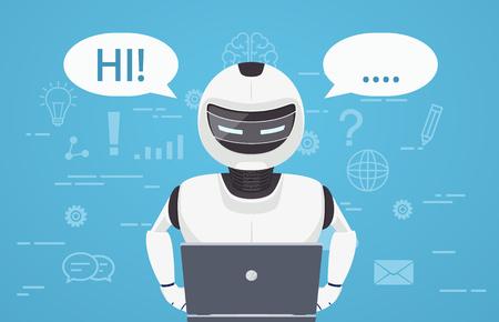 Ilustración de Robot uses laptop computer. Concept of chat bot, a virtual online assistant. - Imagen libre de derechos