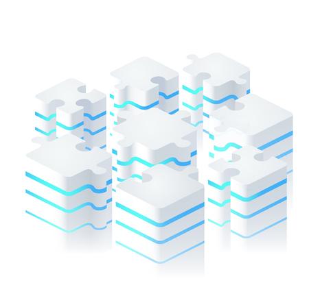 Illustration pour Parts of puzzles in modern digital style. Puzzle piece infographics business concept, block diagram. - image libre de droit