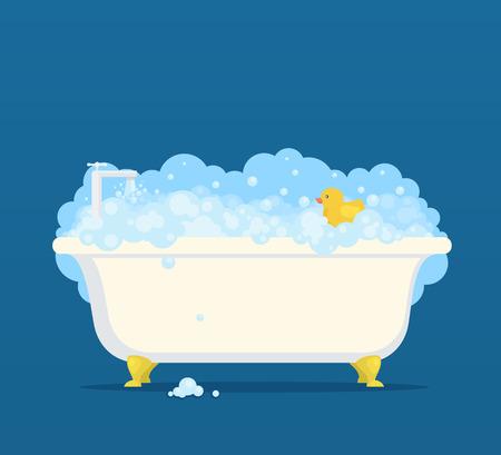 Illustration pour Bathtub with soap bubbles and cute duck Vector illustration. - image libre de droit
