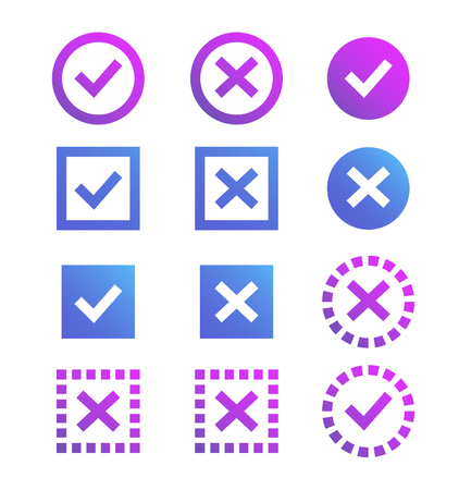 Illustration pour Check mark icon, blue and purple marks and crosses. Symbols of the recommendations are correct and incorrect. - image libre de droit
