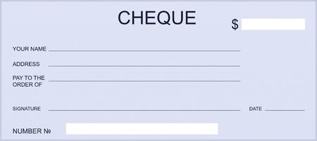 Illustration pour Blank bank check or gift certificate. Design checkbook template. - image libre de droit