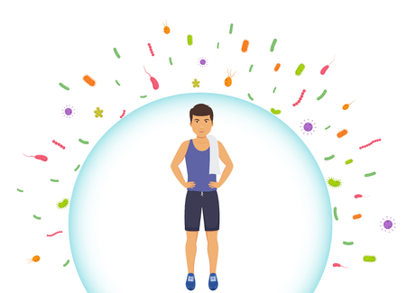 Illustrazione per Sports man reflects bacteria. Protecting immune system from bad bacteria. Barrier against viruses. - Immagini Royalty Free