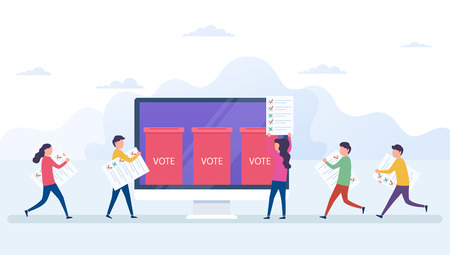 Illustration pour Online voting concept, electronic voting system with computer screen. Voters with newsletters in hands, ballot boxe, election internet system. - image libre de droit