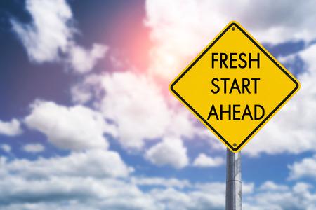 Foto de Fresh start ahead road sign concept for business opportunity, future and new career - Imagen libre de derechos