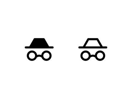 Illustrazione per Incognito mode icon. With outline and glyph style - Immagini Royalty Free