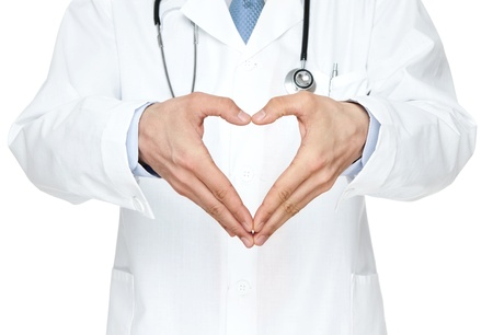 Close up of doctor s hands making heart shape isolated on white background