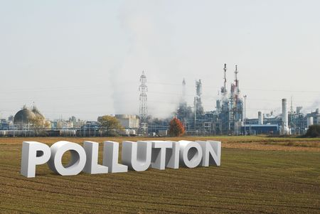 refinery and ecology concept with word pollution