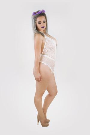 Foto de Beautiful woman in white underwear. - Imagen libre de derechos