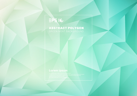 Illustration for Abstract low polygon or triangles pattern on blue green mint background and texture. Vector illustration - Royalty Free Image