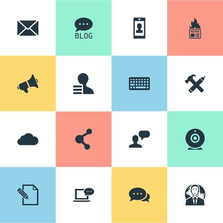 Ilustración de Vector Illustration Set Of Simple User Icons. Elements Argument, Gazette, Profile And Other Synonyms Globe, Speaker And Negotiation. - Imagen libre de derechos
