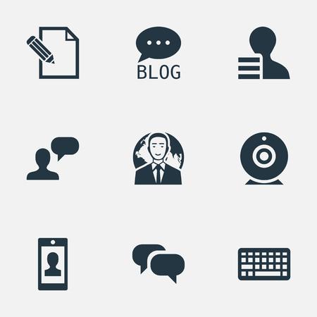 Ilustración de Vector Illustration Set Of Simple User Icons. Elements Keypad, Profile, Man Considering And Other Synonyms Debate, Conversation And Forum. - Imagen libre de derechos
