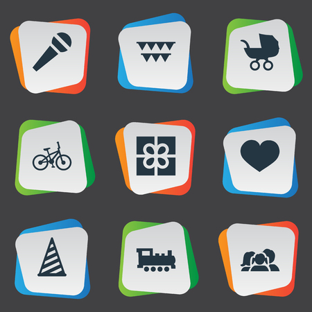 Vector Illustration Set Of Simple Birthday Icons. Elements Bicycle, Domestic, Speech And Other Synonyms Hat, People And Bicycle.