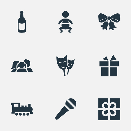 Vector Illustration Set Of Simple Holiday Icons. Elements Beverage, Train, Ribbon And Other Synonyms Steam, Mask And Locomotive.