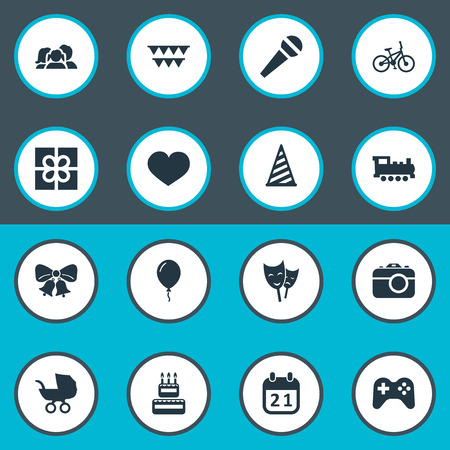 Vector Illustration Set Of Simple Celebration Icons. Elements Box, Train, Baby Carriage And Other Synonyms Speech, Voice And Box.