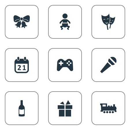 Vector Illustration Set Of Simple Celebration Icons. Elements Beverage, Game, Mask And Other Synonyms Infant, Microphone And Train.