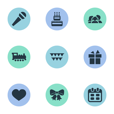 Vector Illustration Set Of Simple Birthday Icons. Elements Speech, Train, Days And Other Synonyms Confectionery, Sweetmeat And Heart.