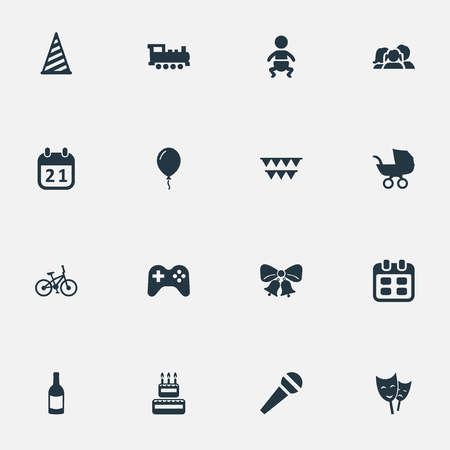 Vector Illustration Set Of Simple Celebration Icons. Elements Special Day, Speech, Days And Other Synonyms Bicycle, Domestic And Day.
