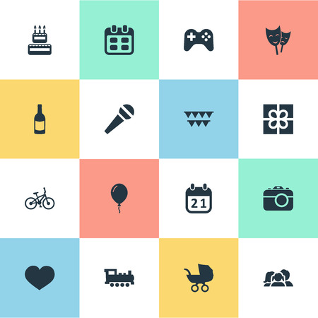 Vector Illustration Set Of Simple Celebration Icons. Elements Soul, Train, Confectionery And Other Synonyms Cake, Schedule And Sky.