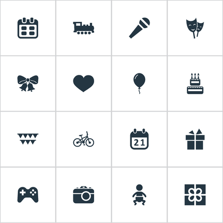 Vector Illustration Set Of Simple Holiday Icons. Elements Decorations;, Infant, Box And Other Synonyms Actor, Bicycle And Camera.