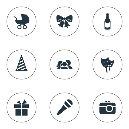 Vector Illustration Set Of Simple Holiday Icons. Elements Speech, Cap, Baby Carriage And Other Synonyms Jingle, Domestic And Camera.
