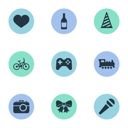 Vector Illustration Set Of Simple Celebration Icons. Elements Bicycle, Beverage, Game And Other Synonyms Hat, Photography And Feelings.