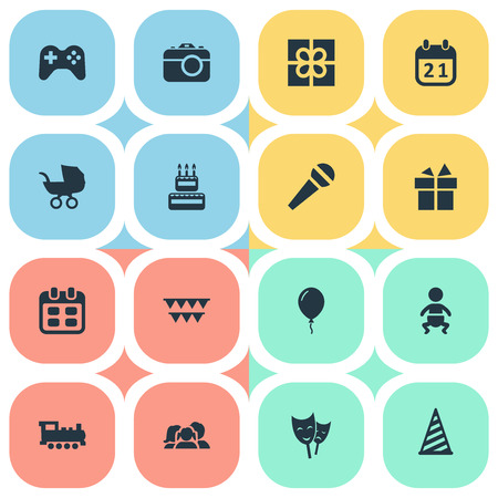 Vector Illustration Set Of Simple Birthday Icons. Elements Aerostat, Camera, Special Day And Other Synonyms Speech, Schedule And Balloon.