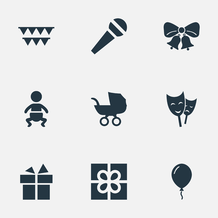 Vector Illustration Set Of Simple Celebration Icons. Elements Mask, Decorations;, Ribbon And Other Synonyms Resonate, Voice And Prize.