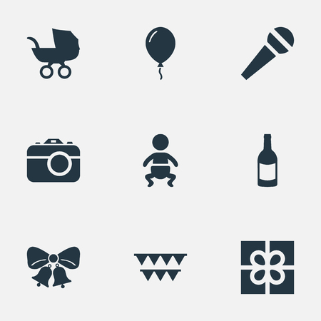 Vector Illustration Set Of Simple Celebration Icons. Elements Camera, Infant, Resonate And Other Synonyms Sky, Carriage And Flags.