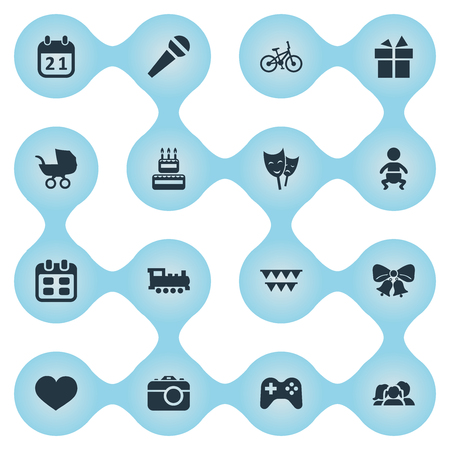 Vector Illustration Set Of Simple Holiday Icons. Elements Domestic, Soul, Infant And Other Synonyms Bicycle, Kid And Sport.