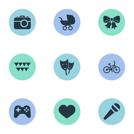 Vector Illustration Set Of Simple Holiday Icons. Elements Resonate, Mask, Decorations; And Other Synonyms Joystick, Soul And Heart.
