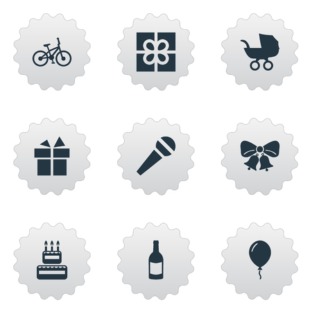Vector Illustration Set Of Simple Celebration Icons. Elements Baby Carriage, Box, Resonate And Other Synonyms Balloon, Baby And Sweetmeat.