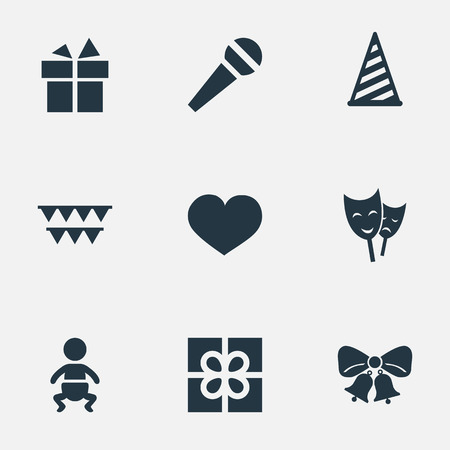 Vector Illustration Set Of Simple Holiday Icons. Elements Ribbon, Decorations;, Cap And Other Synonyms Gift, Ribbon And Box.