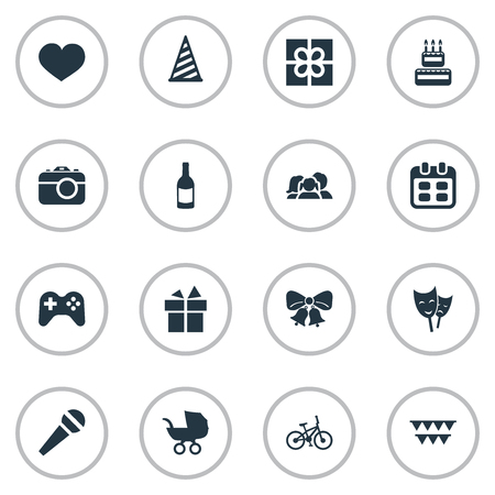 Vector Illustration Set Of Simple Birthday Icons. Elements Soul, Confectionery, Game And Other Synonyms Carriage, Baby And Ribbon.