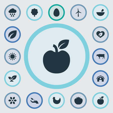 Vector Illustration Set Of Simple Ecology Icons. Elements Forest, Turbine, Easter And Other Synonyms Vegetarian, Environment And Summer.
